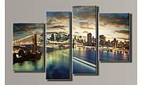 "Модульная картина на холсте ""Закат на Бруклинском мосту"""