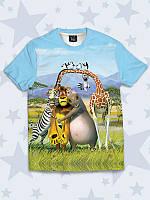 Тильная детская футболка Мадагаскар с персонажами известного мультфильма.