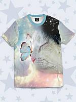 Прелестная футболка Милый котик с бабочкой с красочным 3D-принтом.