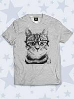 Отличная детская футболка Полосатый кот с милым рисунком. Детская футболка на лето.