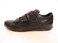 Туфли мужские  ECCO кожаные, черные на липучке (еко)(р.41,44)