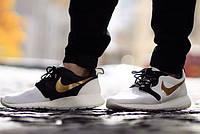 "Кроссовки мужские Nike Roshe Run ""Белые с золотом"" р.41, 44, фото 1"