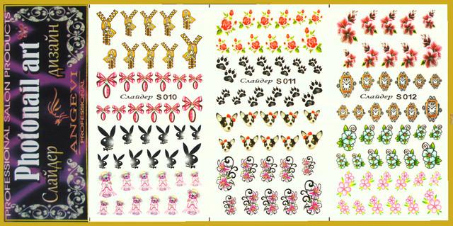 Наклейки для Ногтей PhotonailArt Водные Разноцветные, Большая Тройная Пластина Angevi, Слайдеры для ногтей, Фото Дизайн для Маникюра, nail art (нейл-арт), Слайдер Дизайн, фото наклейки для быстрого красивого дизайна ногтей, по оптовым ценам