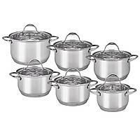 Набор кухонной посуды из нержавеющей стали 12 предметов (6 кастрюль) АМА A-4704S