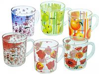 Чашка стеклянная с рисунком 250 мл. Микс2 (в упаковке 6 штук)