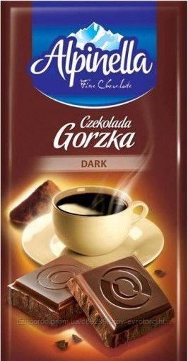 Черный шоколад с альпийским кремом Alpinella gorzka 90 гр.