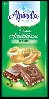 Молочный шоколад Alpinella mleczna czekolada peanuts 90 гр