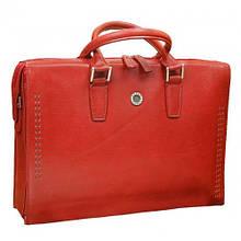 Сумка-портфель женская кожаная для ноутбука, VERUS 608R красный
