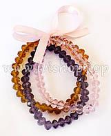 Комплект 3 браслета из чешского стекла розового, фиолетового и желтого цвета