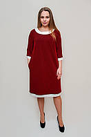 Черное платье в красный горошек и белой отделкой , мод 548,  54,56,58