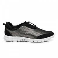 Стильные женские кроссовки серебристо-черные, сетка