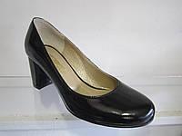 Туфли женские кожаные, лакированные на каблуке