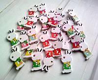 Пуговицы деревянные Зайцы разноцветные