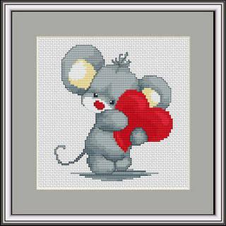 """Набор для вышивания нитками  """"Мышонок с сердечком"""", фото 2"""