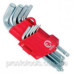 Набор Г-образных шестигранных ключей с шарообразным наконечником  9 ед Intertool HT-0605