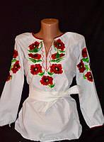 Вышиваночка с маками для девочек 120-170 рост