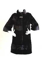 """Шуба из мутона """"Шанель"""" черная с коротким рукавом 1356-3"""