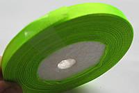 Лента ширина  0,6 мм. атласная катушка 32,8 м\36 ярдов неон салатная