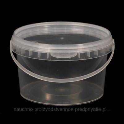 Ведро пластиковое пищевое с крышкой 1 литр