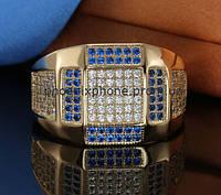 Шикарное кольцо с фианитами, покрытое золотом (123831)