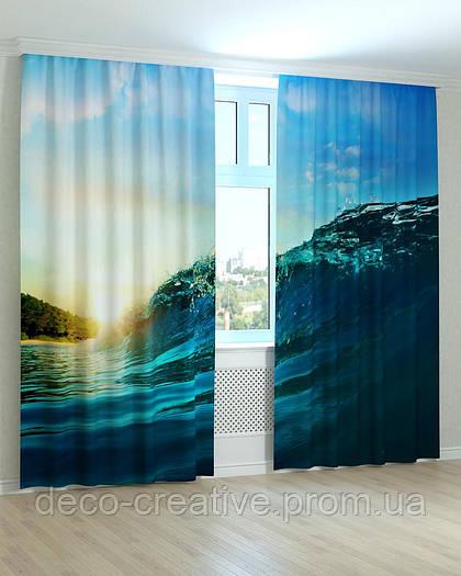 Фотошторы волна на фоне заката