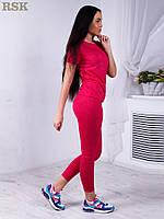 Женский костюм для спорта и фитнеса: футболка и лосины. Малиновый цвет