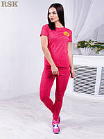Женский костюм для спорта и фитнеса: футболка и леггинсы, в малиновом цвете