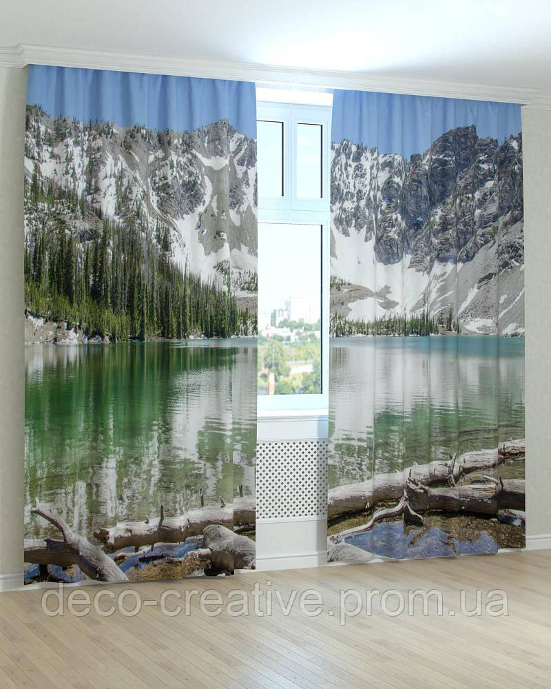 Фотошторы заснеженные горы озеро