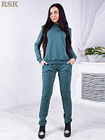 Стильный спортивный трикотажный костюм-двойка: кофта и брюки