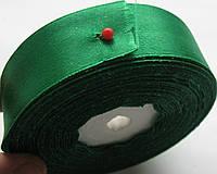 Лента атласная красная, ширина  5 см. катушка 22,7 м\ 25 ярдов темно зеленая