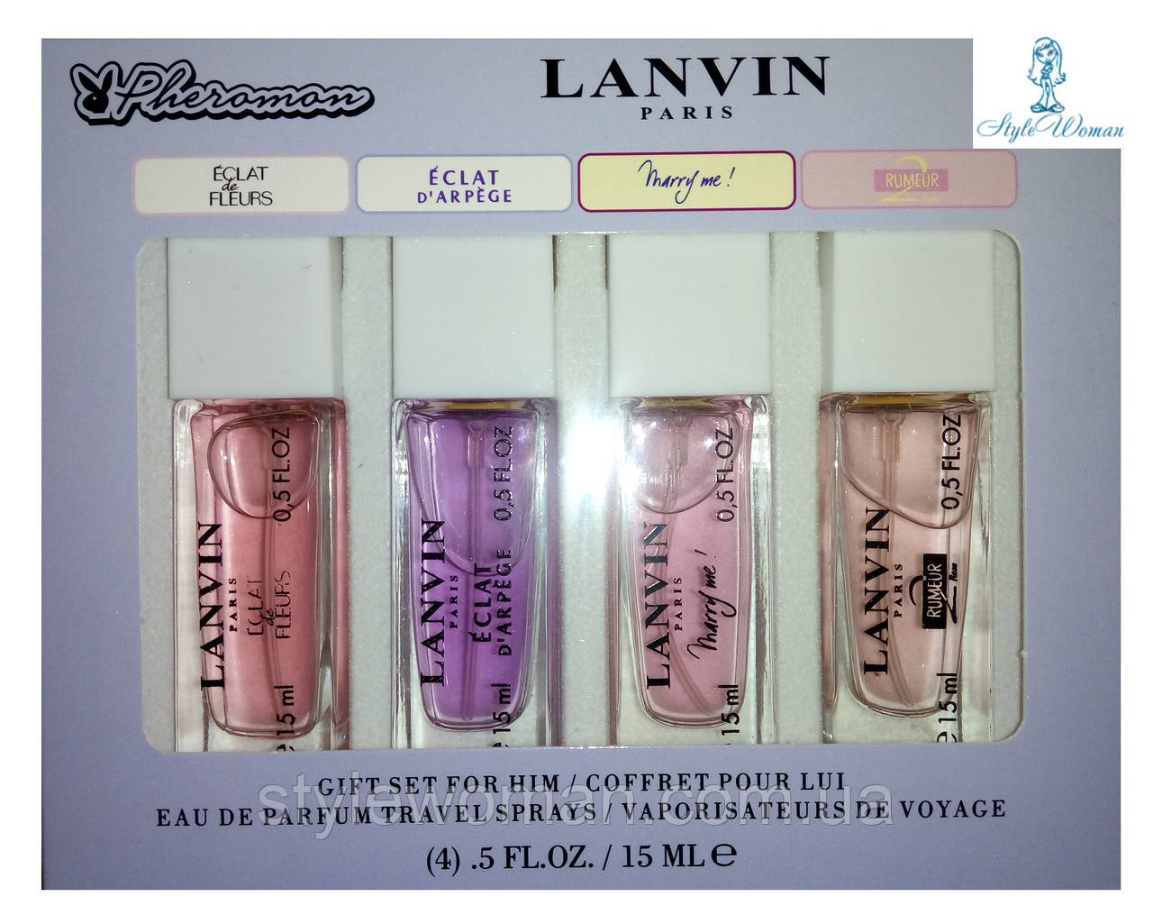 Парфюмерный набор с феромонами Lanvin Ланвин мини 4 по 15мл женский топ аромат