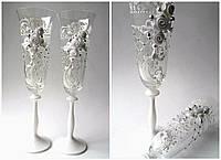 Свадебные бокалы  белые розы