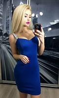 Женское Короткое синее,электрик платье
