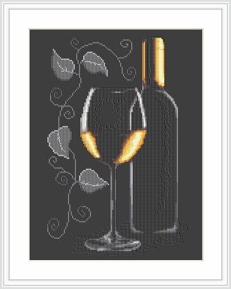 """Набор для вышивания нитками  """"Бутылка с вином"""""""