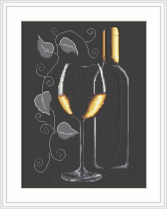 """Набор для вышивания нитками  """"Бутылка с вином"""", фото 2"""