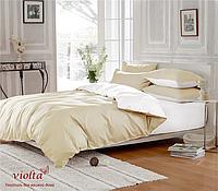 Комплект постельного белья, полуторный, сатин-люкс, бежевый/белый, однотонный
