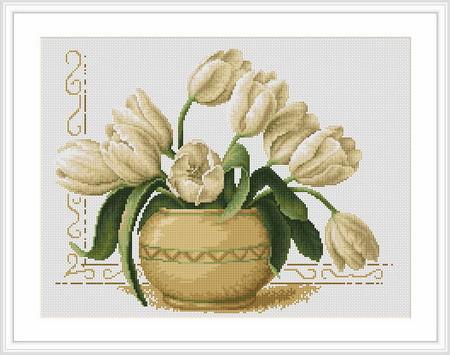 """Набор для вышивания нитками  """"Ваза с тюльпанами"""""""
