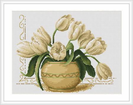 """Набор для вышивания нитками  """"Ваза с тюльпанами"""", фото 2"""