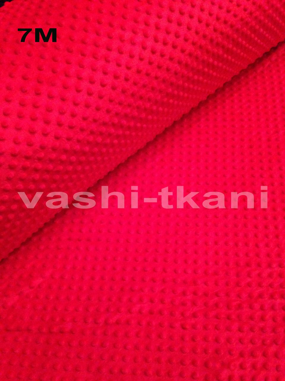 Плюшевая ткань Minky ярко-красный (плот. 350 г/м.кв)