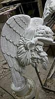 Ангел из литьевого мрамора для памятника (белый и под золото) 75*50 см
