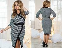 Модное трикотажное платье с орнаментом больших размеров. Арт-5116/48