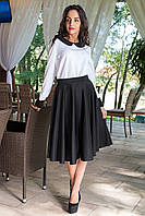Блуза черно-белая с длинным рукавом