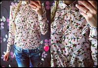 Женская рубашка с растительным принтом 871
