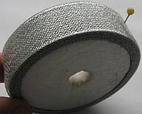 Лента органза\парча ширина  4 см. катушка 22,75 м\25 ярд. серебро