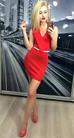 Яркое  красное женское короткое платье