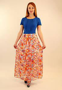 Платье с длинной шифоновой юбкой 44-46-48 р ( разные цвета )