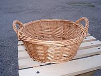 Тарелка круглая с двумя ручками плетенная из лозы. Хлебница плетенная.