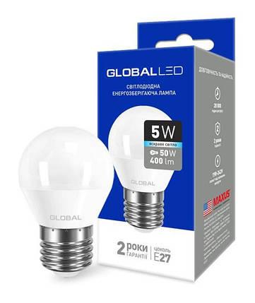 Светодиодная лампа GLOBAL 1-GBL-142 G45 5W 4100К E27 220V Код.58599, фото 2