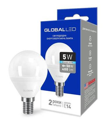 Светодиодная лампа GLOBAL 1-GBL-144 G45 5W 4100К E14 220V Код.58601, фото 2