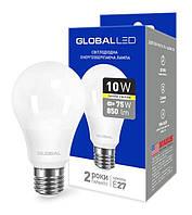 Светодиодная лампа GLOBAL 1-GBL-163 A60 10W 3000К E27 220V Код.58596